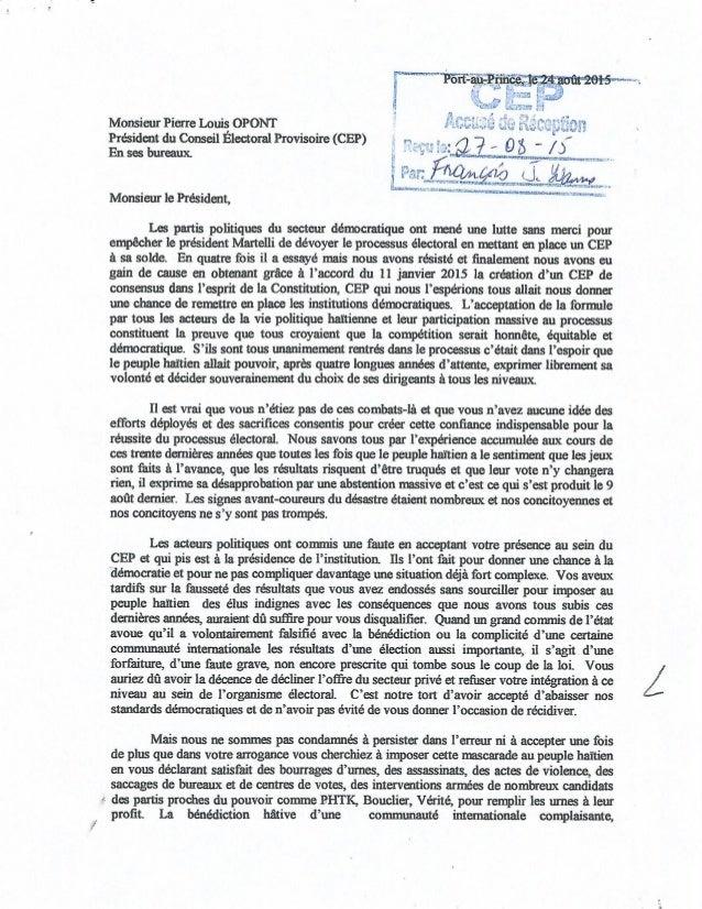 Catastrophe Election 8 Aout 2015: Lettre ouverte à Pierre Louis Opont demandant la tenue d'élections générales
