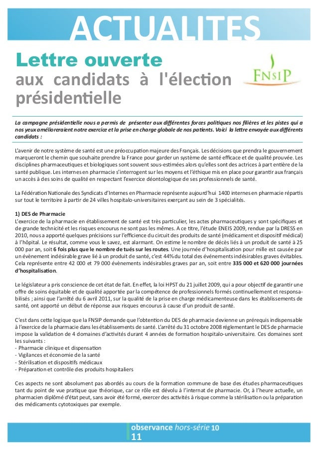 ACTUALITES  Lettre ouverte  aux candidats à l'élec1on  présiden1elle  La campagne présiden2elle nous a permis de présenter...