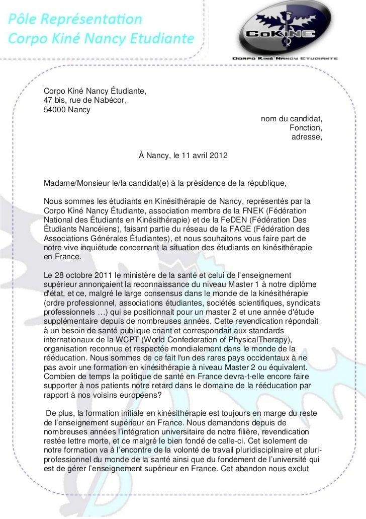Lettre ouverte Corpo Kiné Nancy Étudiant 2012