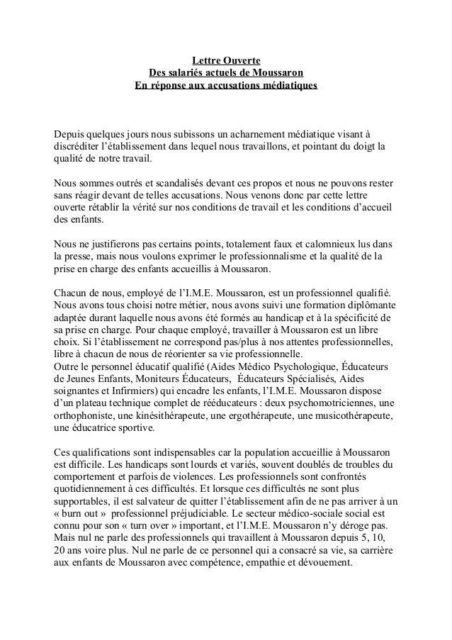Lettre Ouverte Des salariés actuels de Moussaron En réponse aux accusations médiatiques  Depuis quelques jours nous subiss...