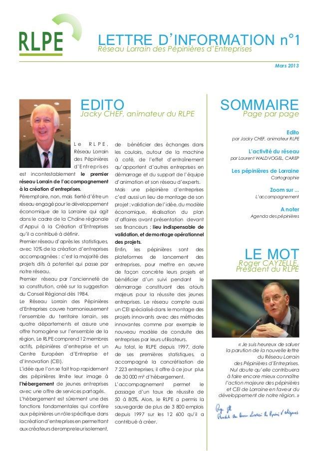 LETTREdes Pépinières d'Entreprises                                     Réseau Lorrain                                     ...