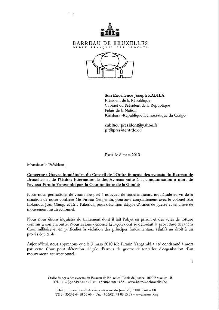 Lettre uia et Ordre Bruxelles affaire Yangambi_100308-fr