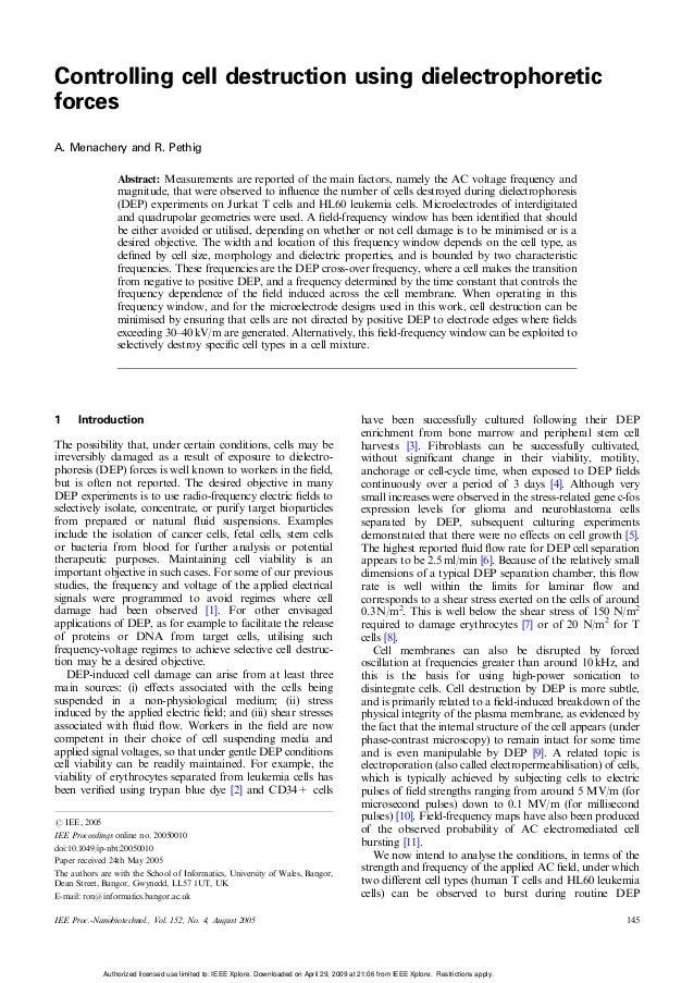 Controlling cell destruction using dielectrophoreticforcesA. Menachery and R. Pethig                  Abstract: Measuremen...