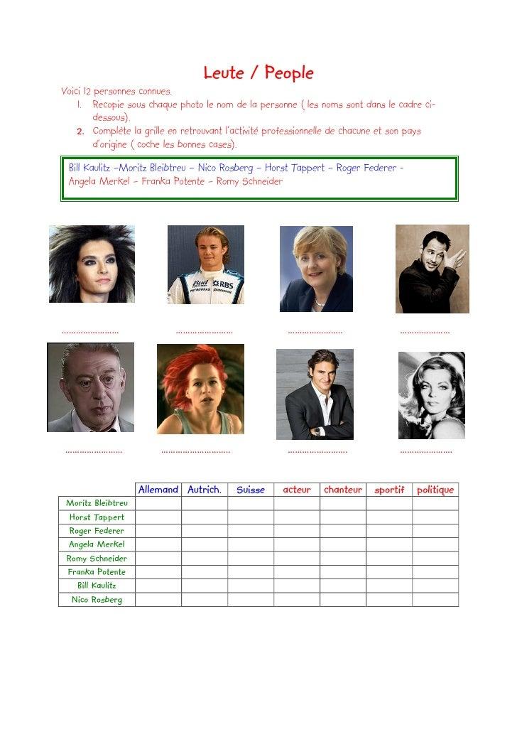 Leute / People Voici 12 personnes connues.     1. Recopie sous chaque photo le nom de la personne ( les noms sont dans le ...