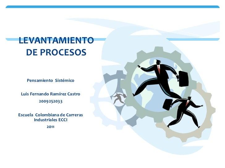 <ul><li>Pensamiento  Sistémico </li></ul><ul><li>Luis Fernando Ramírez Castro </li></ul><ul><li>2009252033 </li></ul><ul><...