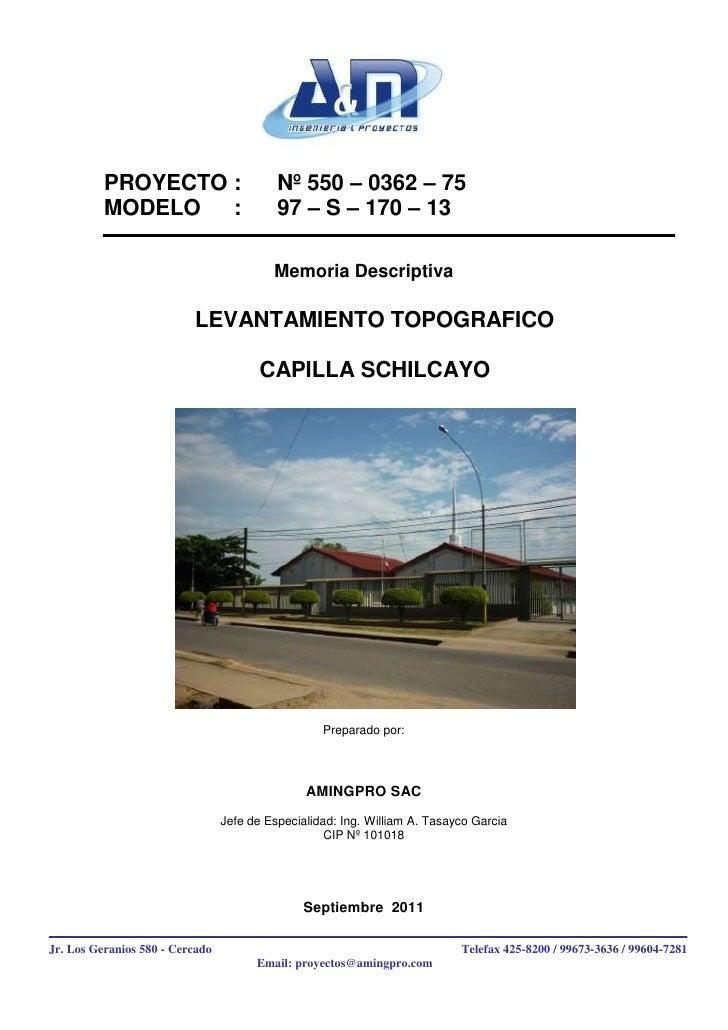 PROYECTO :                       Nº 550 – 0362 – 75          MODELO   :                       97 – S – 170 – 13           ...