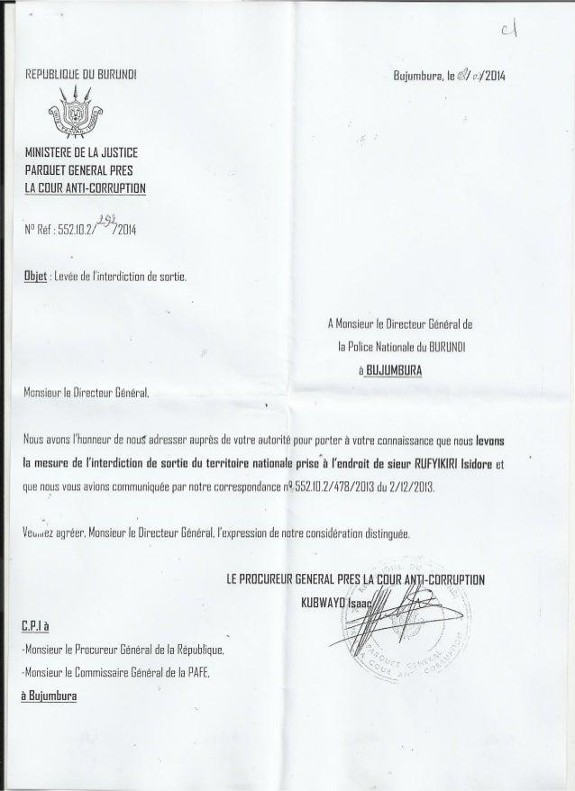 Burundi : levée de l'interdiction de sortie du Bâtonnier Rufyikiri.