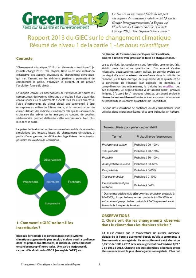 Changement  Climatique  –  Les  bases  scientifiques   1   Ce Dossier est un résumé fidèle du rapport scient...