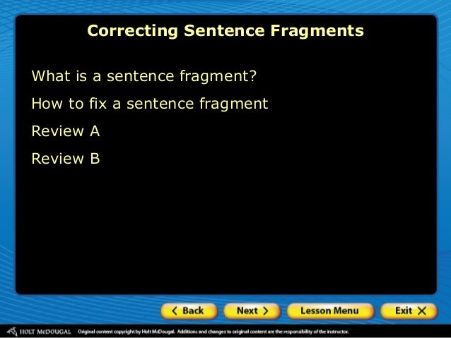 how to fix sentence fragments worksheet