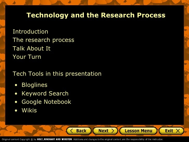 Technology and the Research ProcessIntroductionThe research processTalk About ItYour TurnTech Tools in this presentation• ...