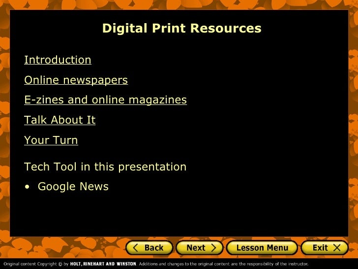 Digital Print ResourcesIntroductionOnline newspapersE-zines and online magazinesTalk About ItYour TurnTech Tool in this pr...