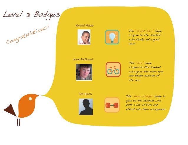 """Congratulations! Level 3 Badges Kwanzi Maple Jason McDowell Ted Smith The """"Bright Idea"""" badge is given to the student who ..."""