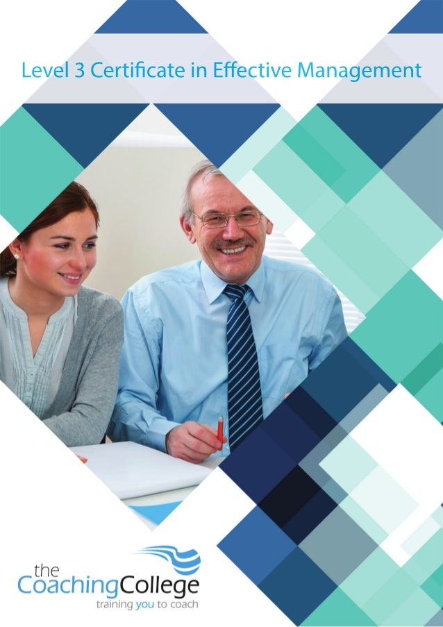 Certificate in Effective Management Level 3, The Coaching College, ILM & Pathway Group