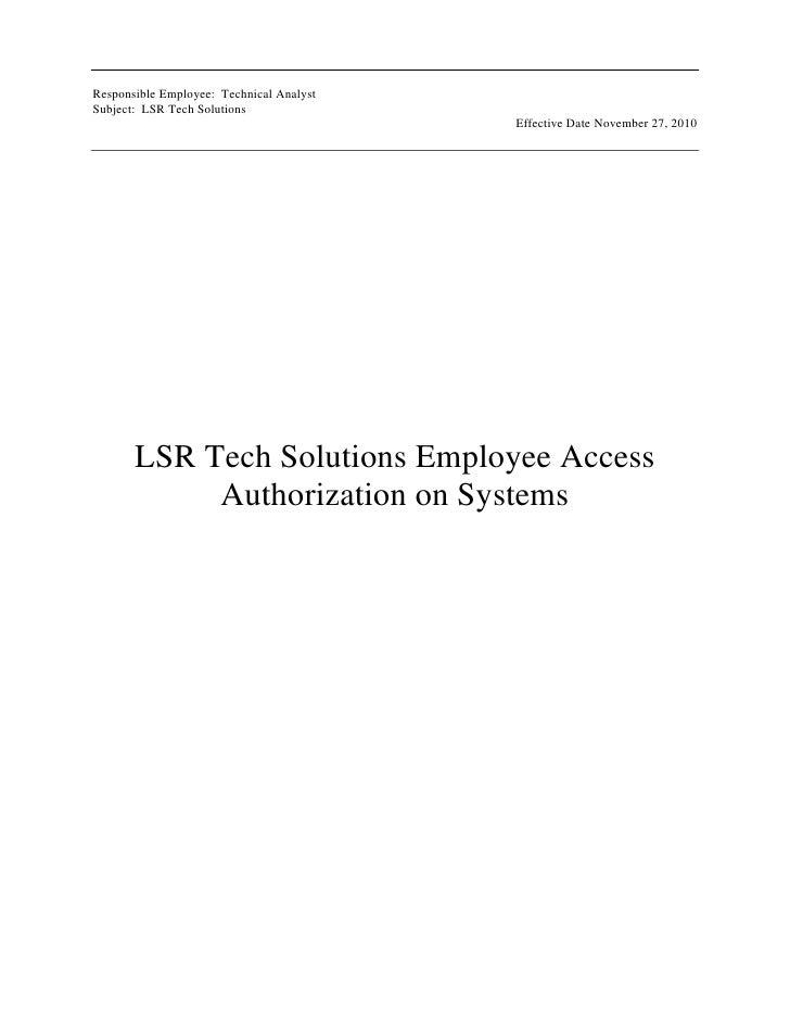 LSR Tech Solutions Employee Access Authorization on Systems<br />LSR Tech Solutions Employee Access Authorization on Syste...
