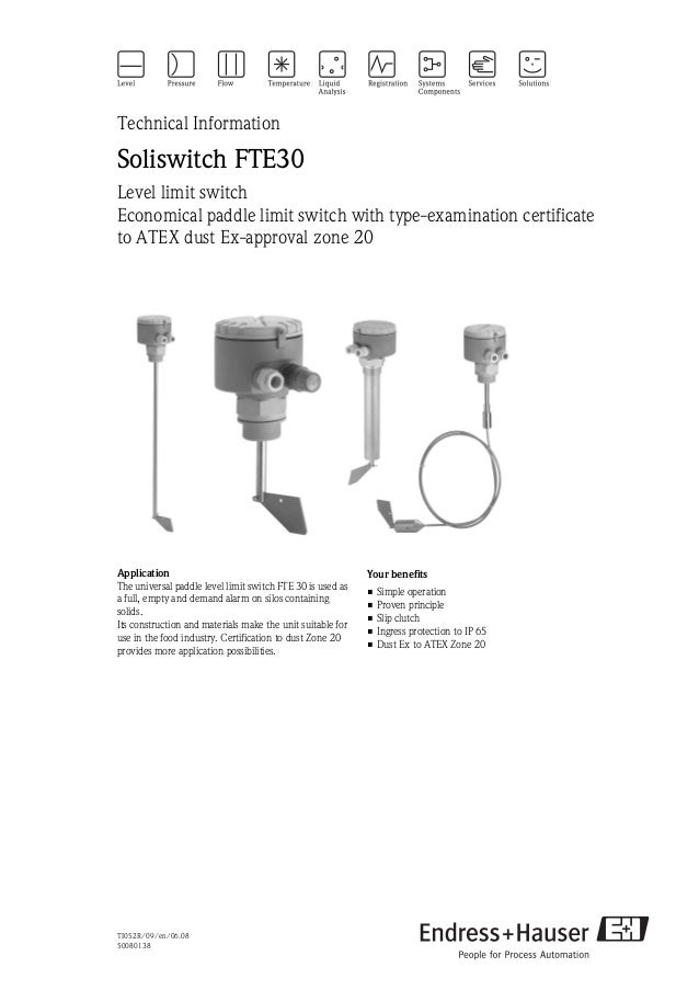TI052R/09/en/06.0850080138Technical InformationSoliswitch FTE30Level limit switchEconomical paddle limit switch with type-...