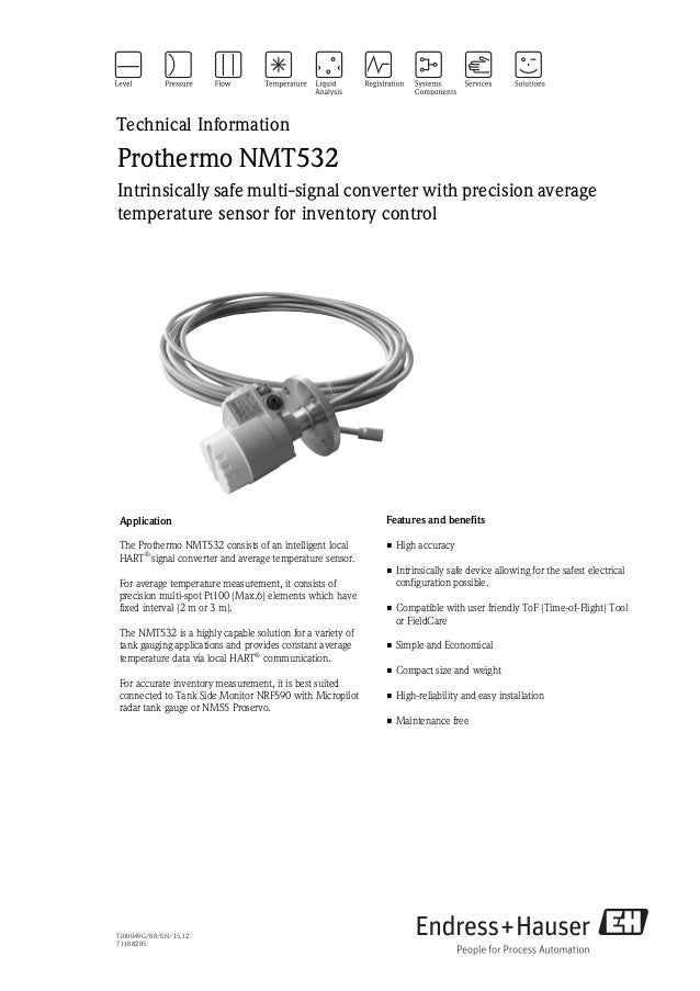Level measurement with Prothermo NMT532