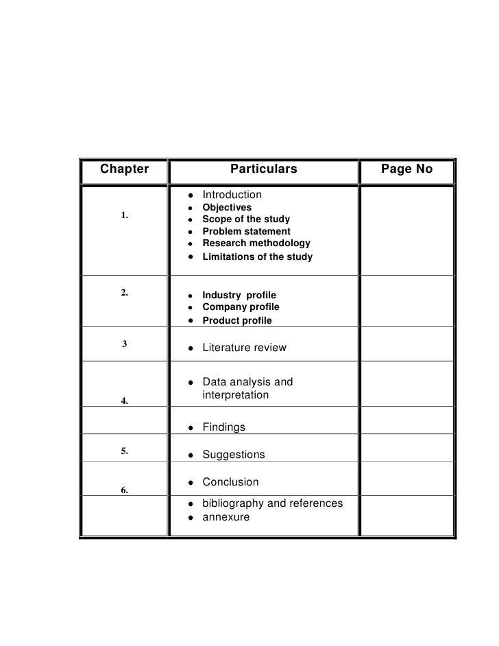 Chapter         Particulars             Page No           Introduction           Objectives   1.      Scope of the study  ...