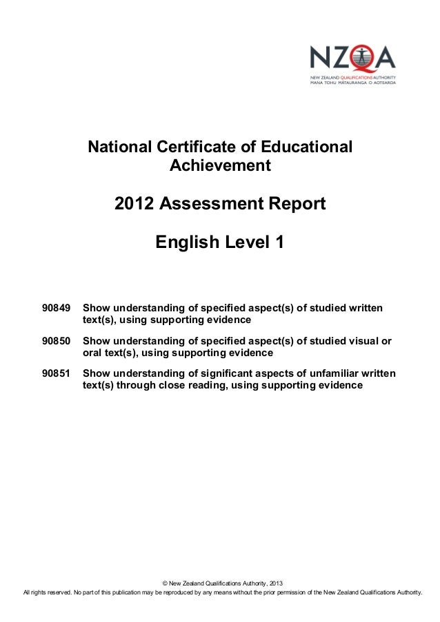 Level one assessment report