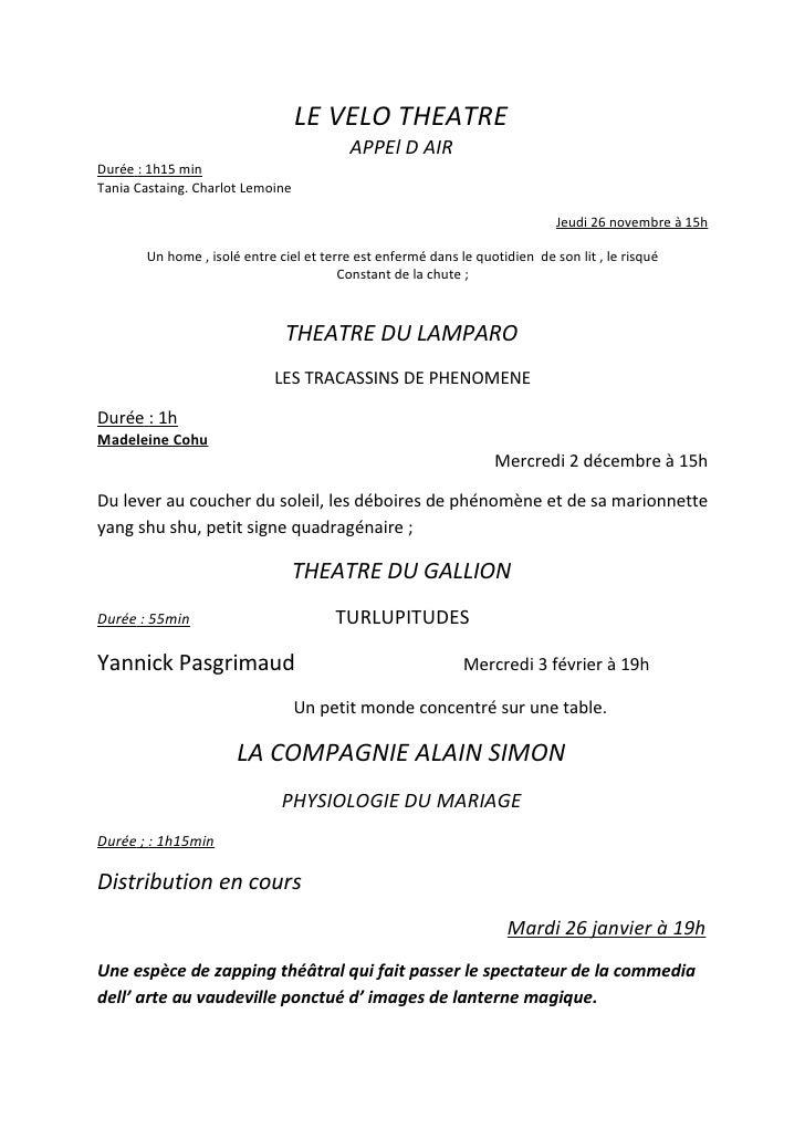 LE VELO THEATRE                                          APPEl D AIR Durée : 1h15 min Tania Castaing. Charlot Lemoine     ...