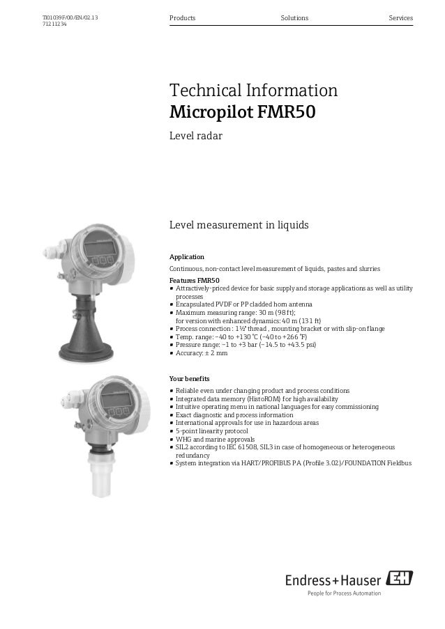 Level measurement in liquidsApplicationContinuous, non-contact level measurement of liquids, pastes and slurriesFeatures F...