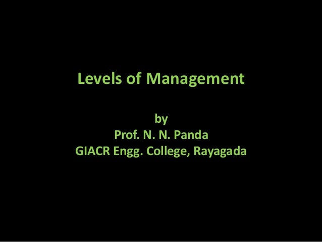 Levels of Management by Prof. N. N. Panda GIACR Engg. College, Rayagada