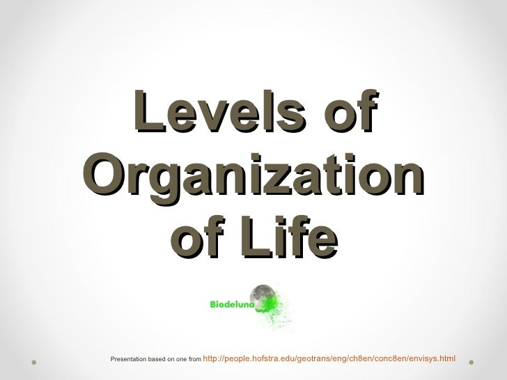 Levels of Organization of Life Presentation based on one from  http://people.hofstra.edu/geotrans/eng/ch8en/conc8en/envisy...