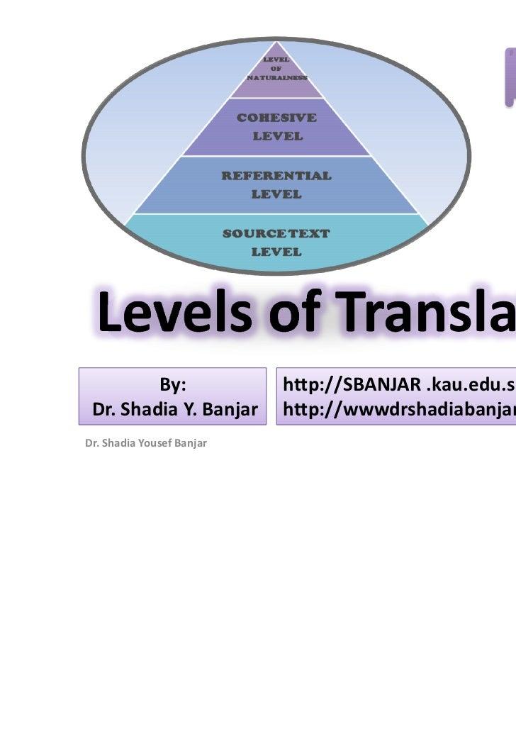 Levels of translating, presented by dr. shadia yousef banjar