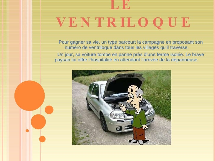 LE  VENTRILOQUE Pour gagner sa vie, un type parcourt la campagne en proposant son numéro de ventriloque dans tous les vill...