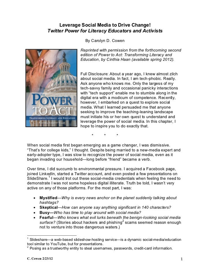 Leverage Social Media 2 Drive Change: Twitter Power 4 Literacy Educators & Activists