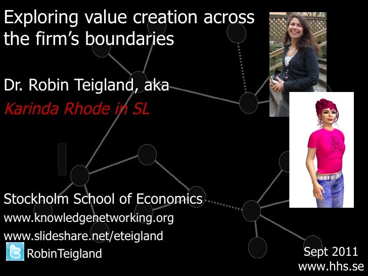 <ul><li>Exploring value creation across  </li></ul><ul><li>the firm's boundaries </li></ul><ul><li>Dr. Robin Teigland, aka...