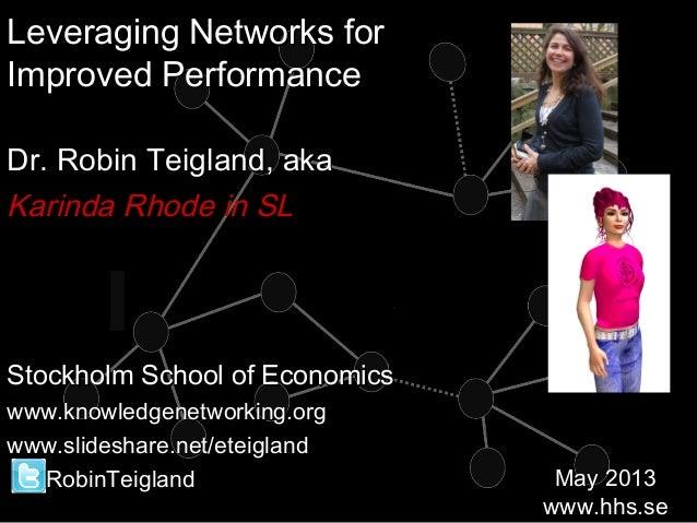 Leveraging Networks May2013 for Skanska