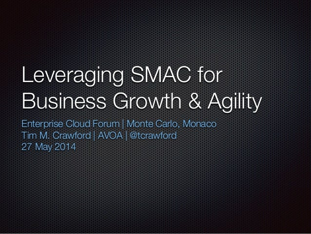 Leveraging SMAC for Business Growth & Agility Enterprise Cloud Forum | Monte Carlo, Monaco Tim M. Crawford | AVOA | @tcraw...