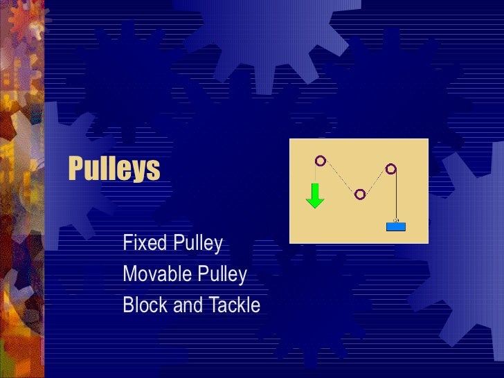 Examples Of Block And Tackle Pulleys : Levers wheels and axles pulleys