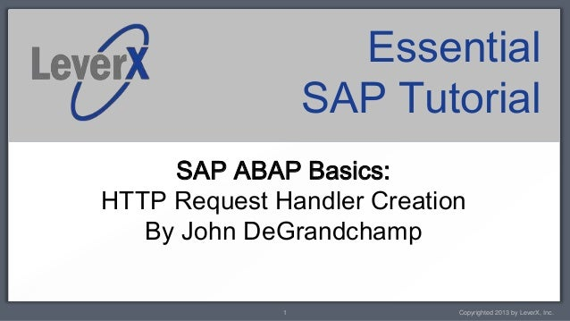 LeverX ABAP Tutorial - HTTP Request Handler Creation