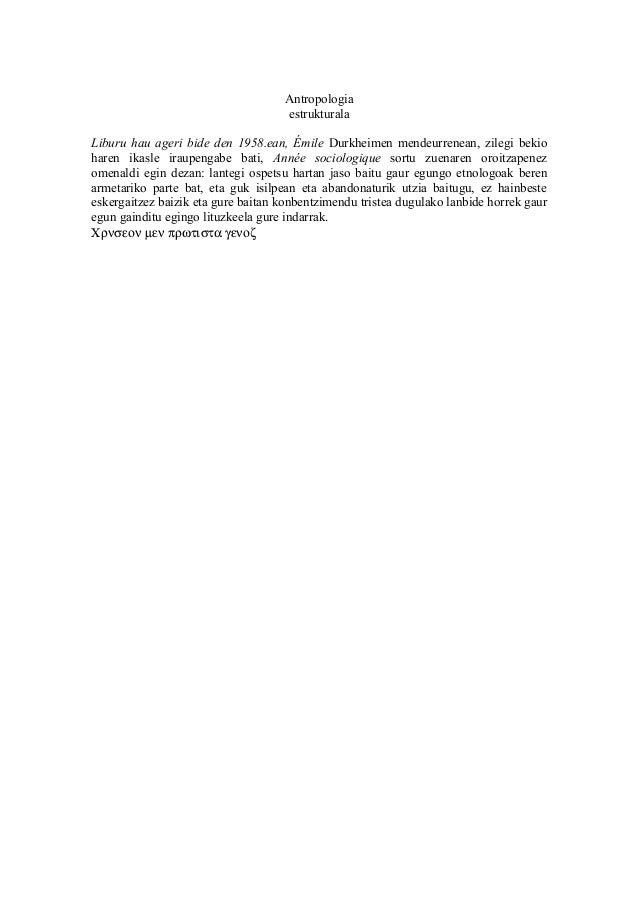 Antropologia                                    estrukturalaLiburu hau ageri bide den 1958.ean, Émile Durkheimen mendeurre...