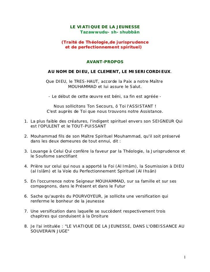 LE VIATIQUE DE LA JEUNESSE                          Tazawwudu- sh- shubbân                  (Traité de Théologie,de jurisp...