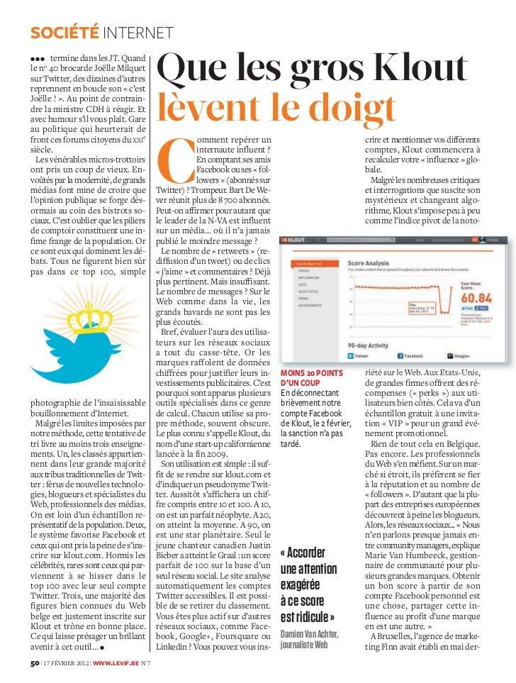 Le Vif Express 17.02.2012: Que les gros Klout lèvent le doigt