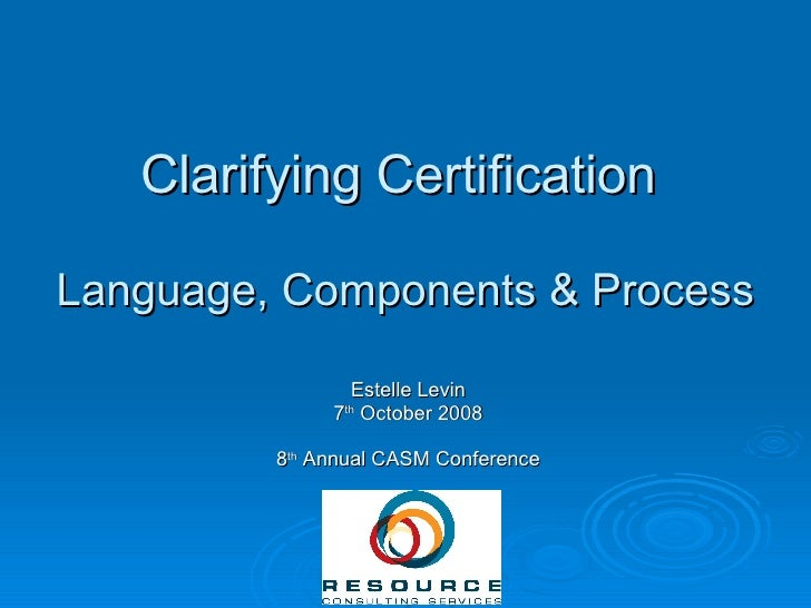 Levin Clarifying Certification