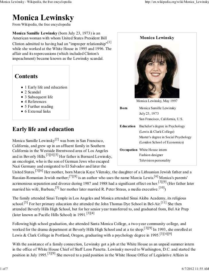 Monica Lewinsky - Wikipedia, the free encyclopedia                                          http://en.wikipedia.org/wiki/M...