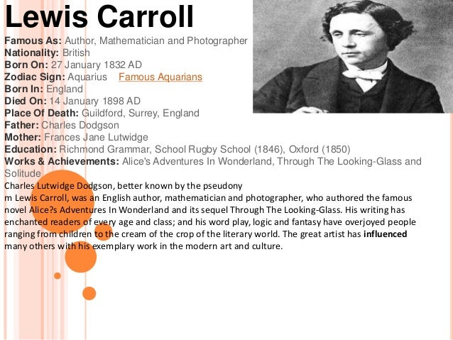 a biography of lewis carroll Shmoop guide to lewis carroll biography & history of lewis carroll, written by phd students from stanford, harvard, berkeley.