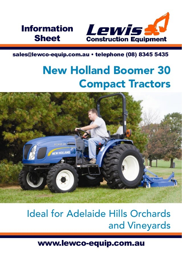 Lewis Construction Equipment, Adelaide—New Holland Boomer 30 Tractors for Adelaide Hills Orchards and Vineyards