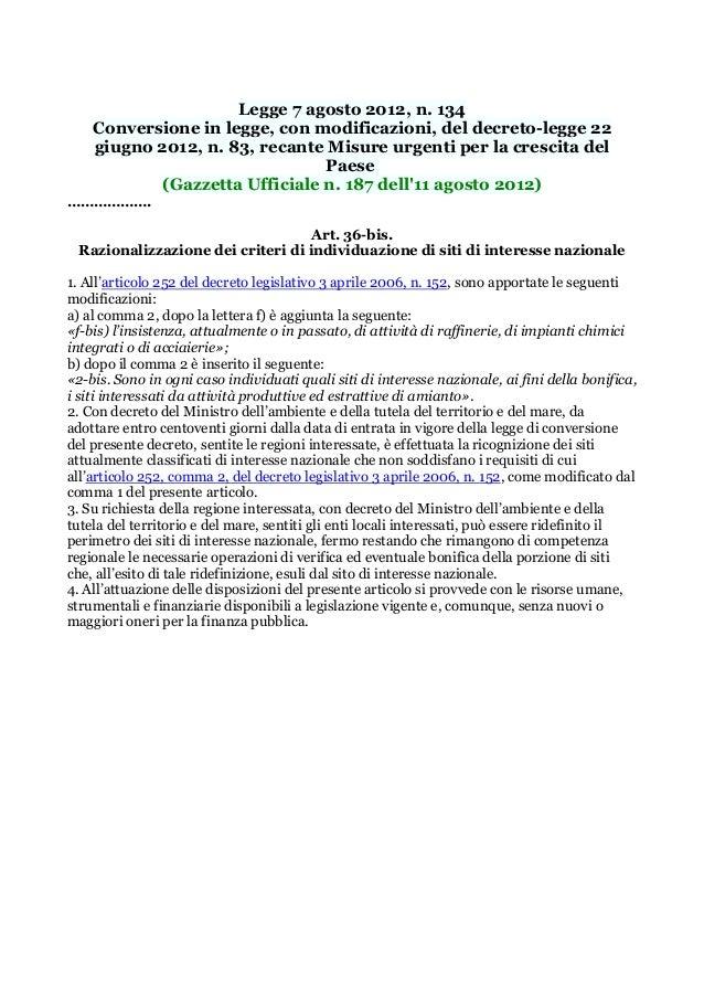 Lex 2012  modifica criteri Siti di Bonifica di interesse nazionale