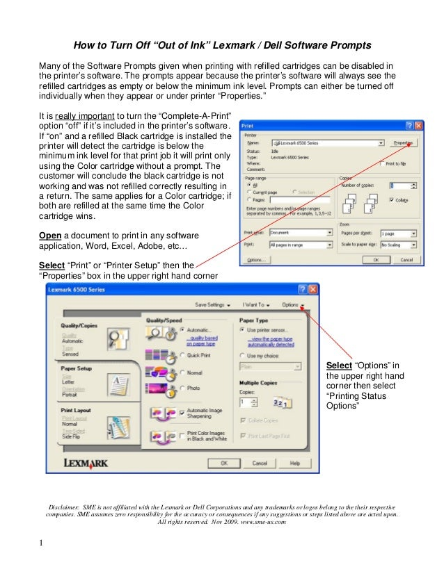 """1 How to Turn Off """"Out of Ink"""" Lexmark / Dell Software Prompts Many of the Software Prompts given when printing with refil..."""