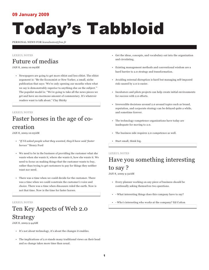 09 January 2009   Today's Tabbloid PERSONAL NEWS FOR lexeulnotes@free.fr    LEXEUL NOTES                                  ...