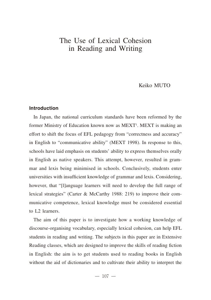 The Use of Lexical Cohesion                 in Reading and Writing                                                        ...