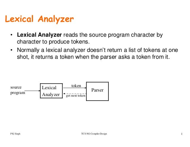 Lexical Analyzer • Lexical Analyzer reads the source program character by character to produce tokens. • Normally a lexica...