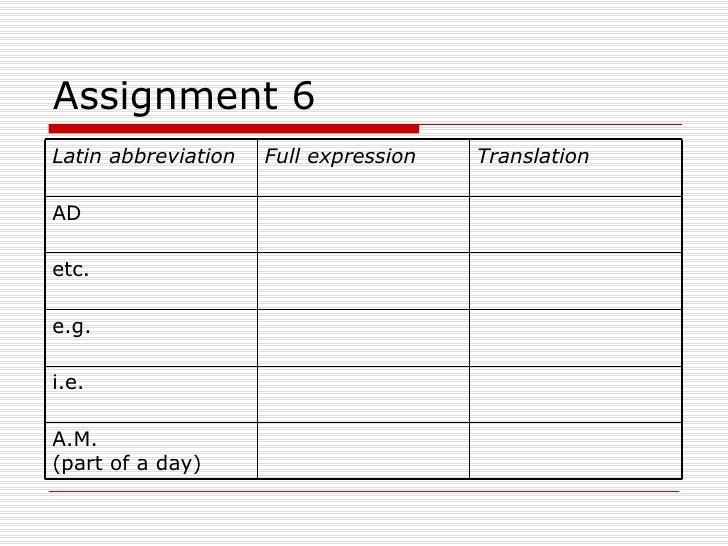 Abbreviation for assignment