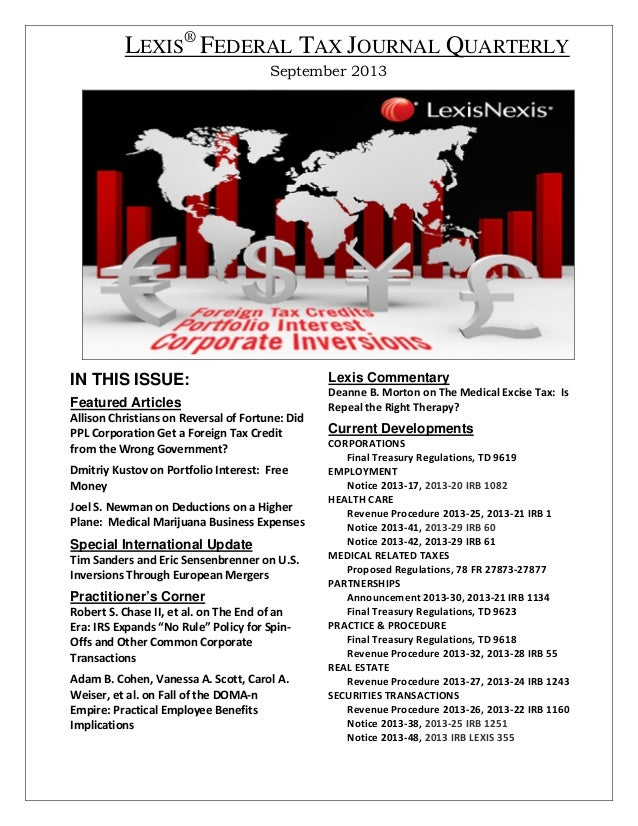 LEXIS® FEDERAL TAX JOURNAL QUARTERLY September 2013