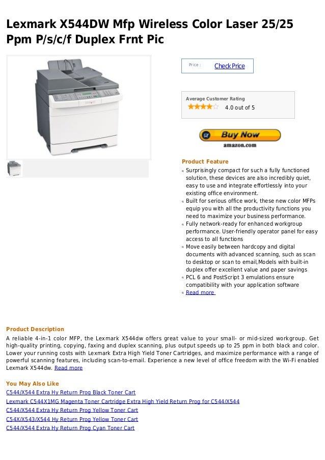 Lexmark X544DW Mfp Wireless Color Laser 25/25Ppm P/s/c/f Duplex Frnt Pic                                                  ...