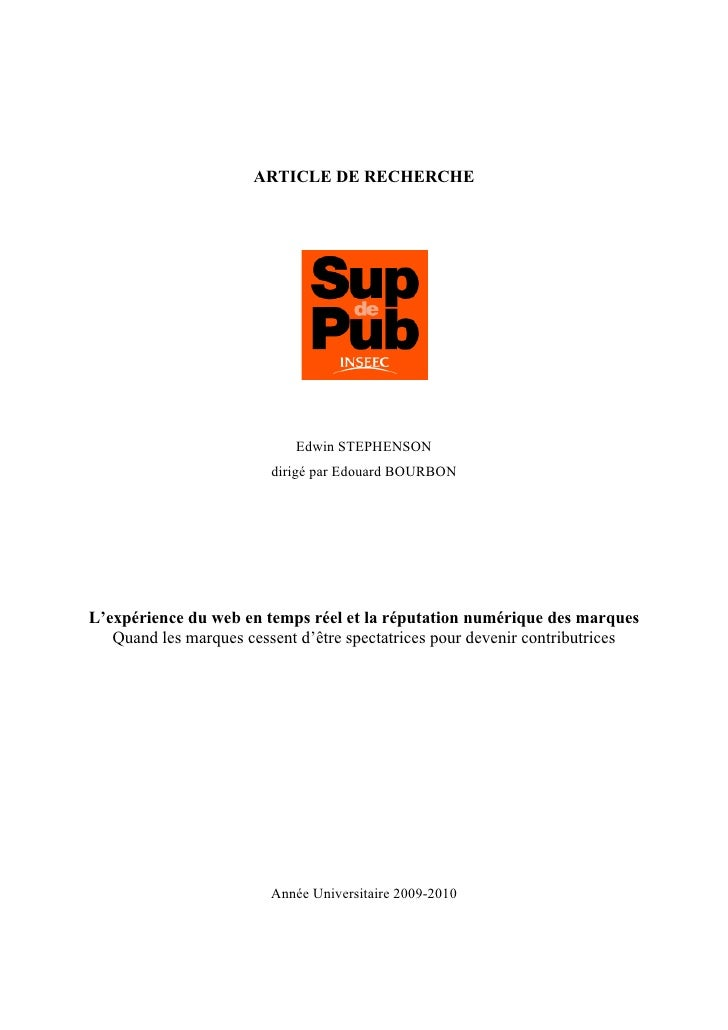 ARTICLE DE RECHERCHE                                 Edwin STEPHENSON                          dirigé par Edouard BOURBON ...